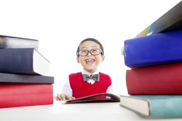 Fotobehang - Happy child reading books