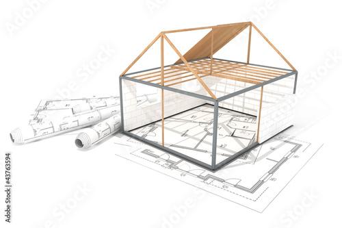 grundger st einfamilienhaus auf baupl nen stockfotos und. Black Bedroom Furniture Sets. Home Design Ideas