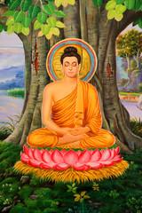 Buddha's biography painting on wall of Wat Pa Samoson