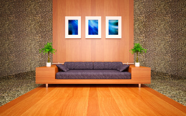 modern living room with sea stones