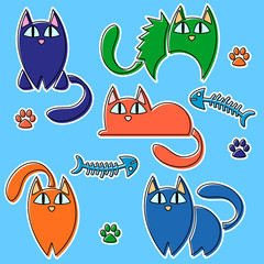 Funny colorful cats set