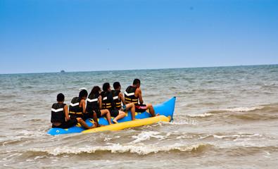 Banana boat in sea