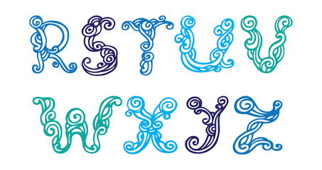 Swirly hand drawn font. Vector letters set R-Z