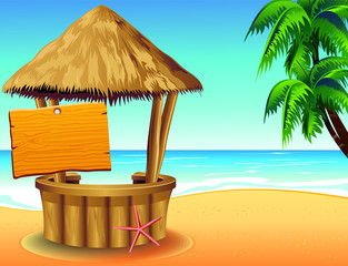 Wall Murals Draw Bar Capanna sulla Spiaggia-Snack Bar on Tropical Beach-Vector