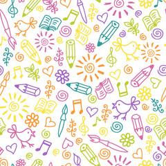 Cheerful childlike seamless pattern