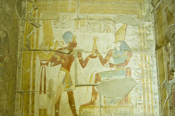 Seti taking Flail from Horus