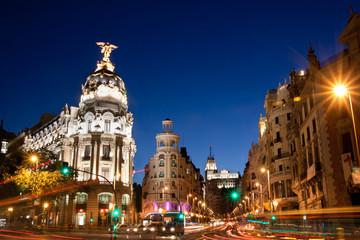 Keuken foto achterwand Madrid Gran Via in Madrid, Spain, Europe.