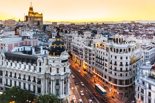 Panoramic view of Gran Via, Madrid, Spain.