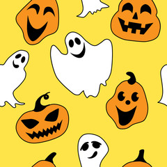 Seamless halloween pattern with ghosts and pumpkins
