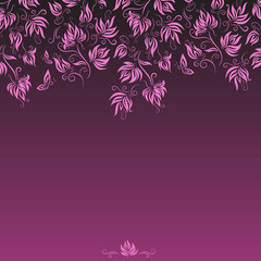 Purple floral card template