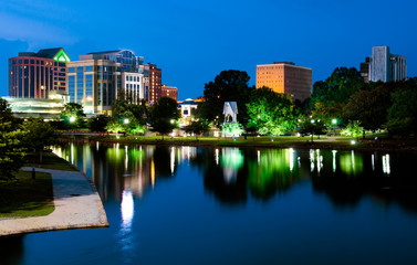 Night cityscape scene of downtown Huntsville, Alabama