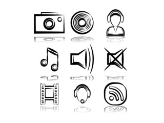 Set from 9 (nine) computer's multimedia icons