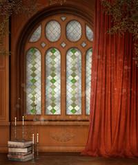 Drewniane okno z czerwoną zasłoną i książkami