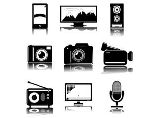 Set of 9 (nine) multimedia icons