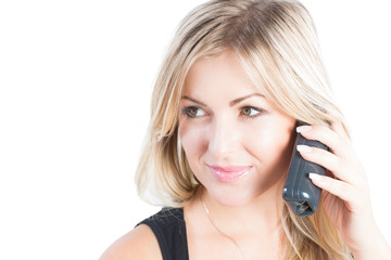 beautiful woman with blondy hair talking on a mobile phone