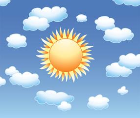 Photo sur Aluminium Ciel vector sun and clouds in the sky
