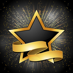 Black and gold star and banner background