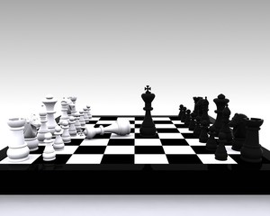 Chess 3D - clash between King and victory