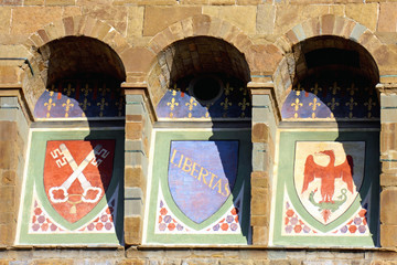 Coats of arms on the roof of the Palazzo Vecchio