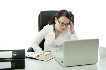 young brunette business woman with glasses headache