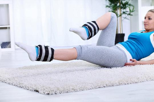 Woman doing exercise for strengthening legs