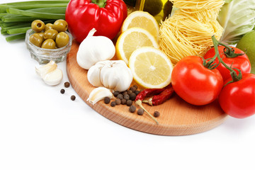 set fresh vegetables isolated on white background