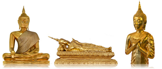 Three Golden Buddha with Isolated
