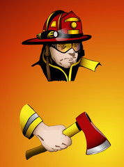 Firefighter with axe in hand, vector, easy to edit layers
