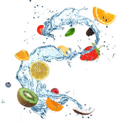 Deurstickers Opspattend water Fruit in water splash over white