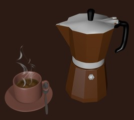 Coffee pot with cup