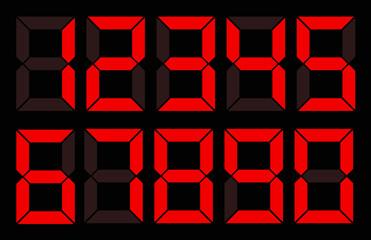 Set of red digital number