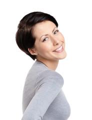 Smiley joyful woman, isolated on white