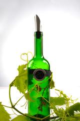 Fototapeta butelka do wina i winorośl obraz