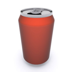 3D rendered red aluminum drink can