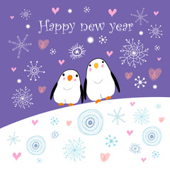 Greeting card with penguins