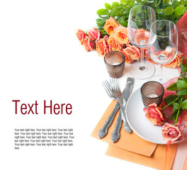 Template with festive table setting with roses