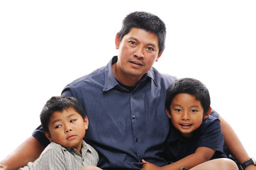Asian Father with sons