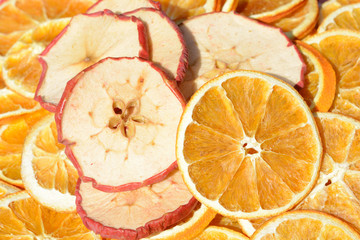 Canvas Prints Slices of fruit Apfel und Orangenscheiben