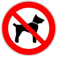 Verbotsschild - Mitführen von Tieren