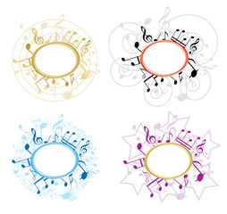 music oval frames with notes - vector set