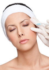 Cosmetic injection with syringe for eyelid correction