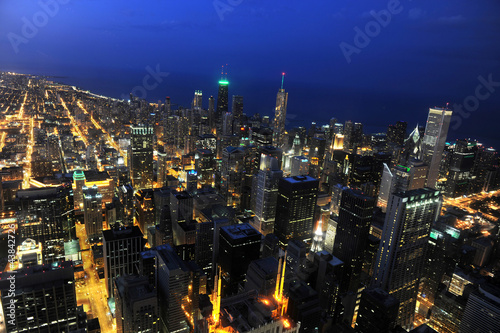 Fototapete Aerial mView of Chicago