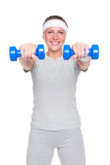 woman doing exercises with dumbbells