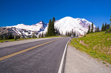 The Road Direction to Mt Rainer at Sunrise point