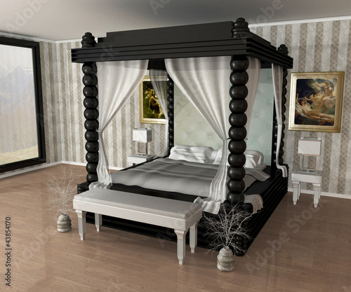 lit baldaquin photo libre de droits sur la banque d 39 images image 43854170. Black Bedroom Furniture Sets. Home Design Ideas