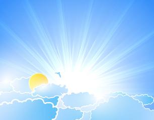 Photo sur Aluminium Ciel Vector sunburst background with clouds