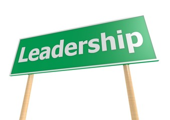 Road sign with text Leadership
