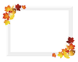 picture frame with fallen leaves