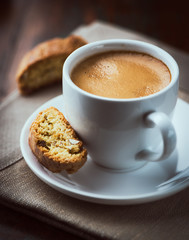 Cup of espresso coffee with cantuccini