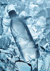 Bottle of mineral water on ice cubes background